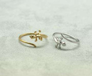 Cute and unique lizard rings in gold /silver- Adjustable Ring