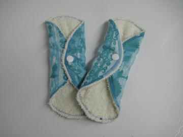 Light Blue Floral Cloth Pantyliners - Set of 2 - Extra Long