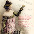 DIGITAL scan Buxom Victorian woman with BIRD in hand FRENCH poem antique postcard Photo Download