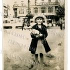 DIGITAL scan GIRL feeding PIGEONS vintage European postcard photo download