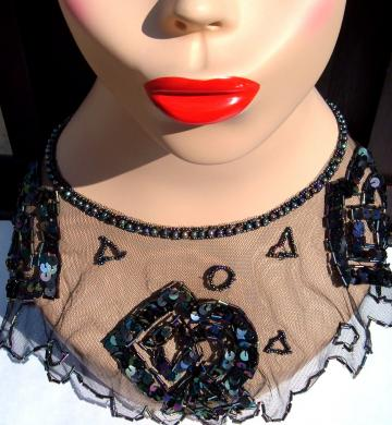 Vintage lace beads and sequins collar