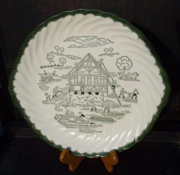 Countryside vintage plate amish farm scene