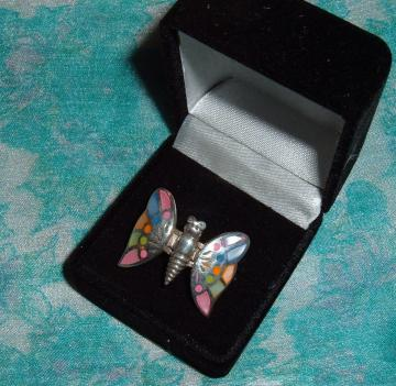 Pretty in PINK 925 size 6 vintage butterfly ring 