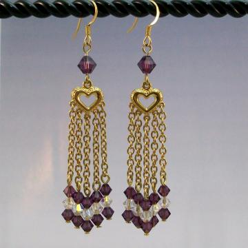 Swarovski Amethyst and Crystal AB Chandelier Earrings, Handmade