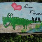 whimsical Gator mixed media folk art painting Original on wood