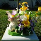 .Easter Day Gift New Handmade Silk Flower Spring Rabbit Floral Arrangement Decorations
