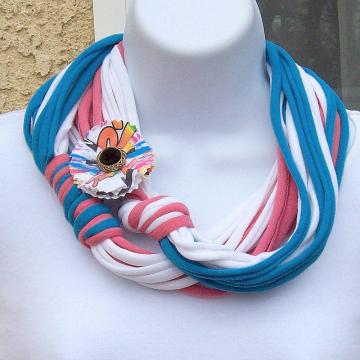 Infinity Scarf in turquoise, white and coral jersey knit, with matching pin
