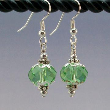 Peridot Crystal Rondelle Earrings with Silver Accents