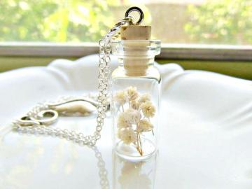 Little Flower Bouquet Bottle Necklace - Baby's Breath Bouquet Eco Wedding Necklace