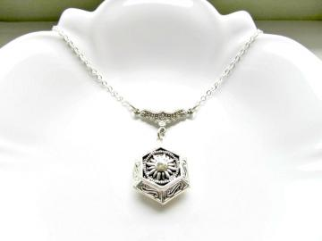 Art Deco Locket Necklace - Silver Hexagon Locket with Crystal Center