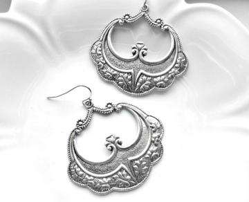Boho Earrings in Antiqued Silver