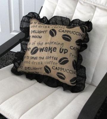Coffee Pillow Cover in Burlap by Texas Eagle Gallery