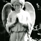 Praying Angel Statue Black and White Fine Art Photo
