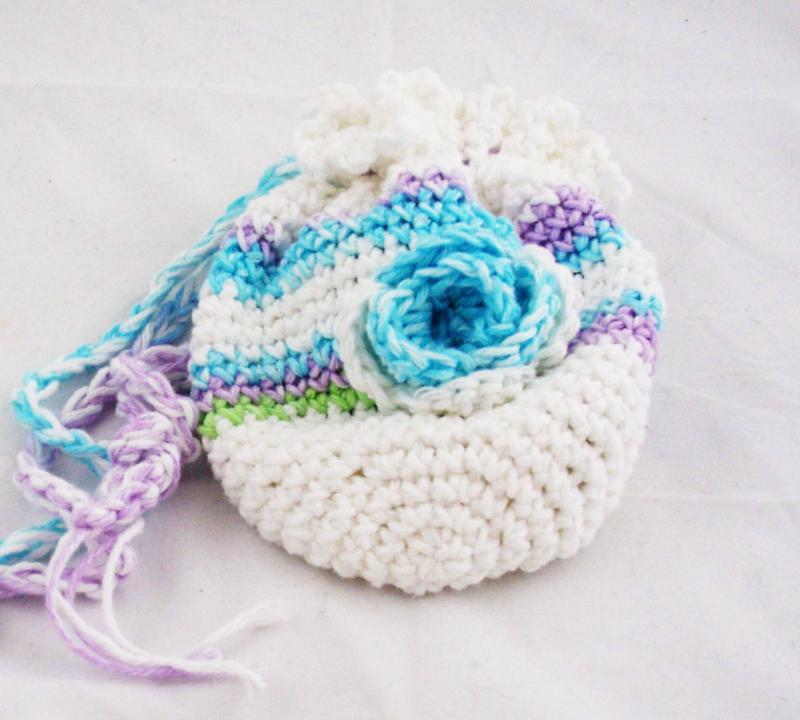 Crochet Handmade Little Girls Drawstring purse