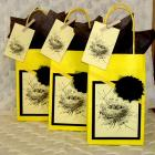 Spring Gift Bag Set with Baby Birds and Nest, Cheerful Yellow Bags, Fabric Flowers, and Matching Gift Tags Held With a Tiny Clothespin