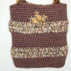 Handmade brown and tan striped handbag crochet