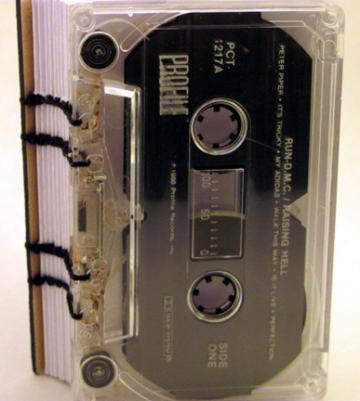 run dmc, raising hell, cassette tape, blank book, journal, sketch, upcycled, hip hop