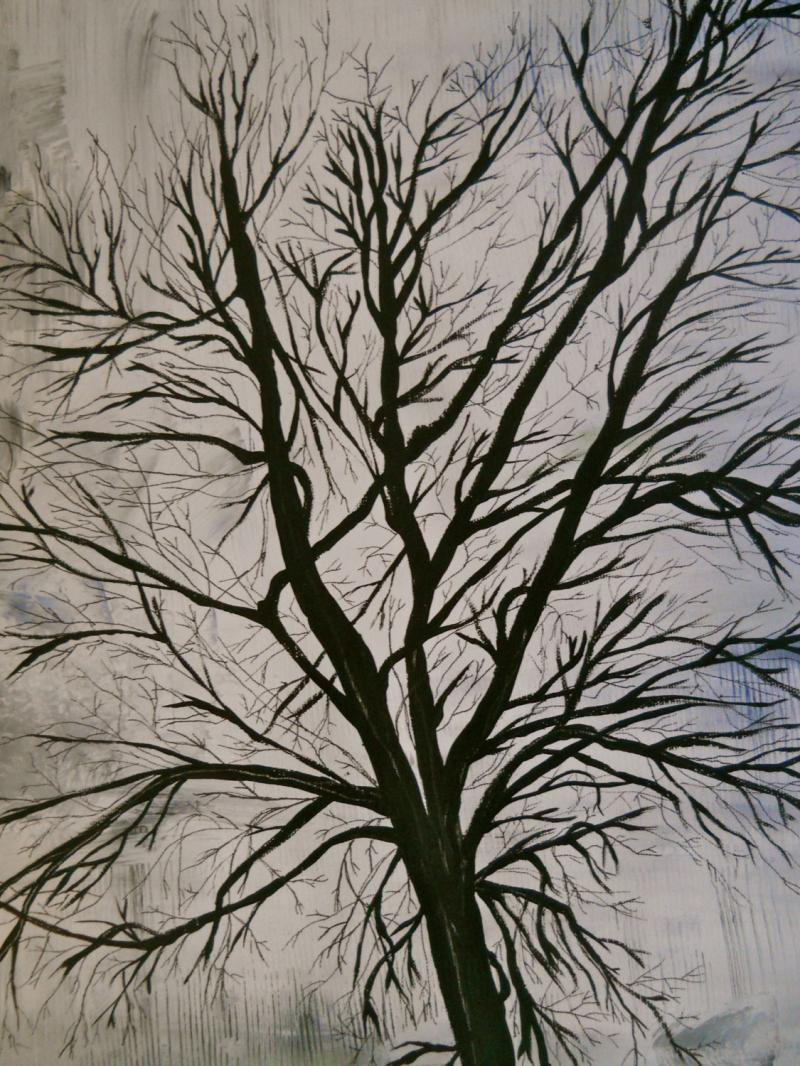 - White painted tree branches ...