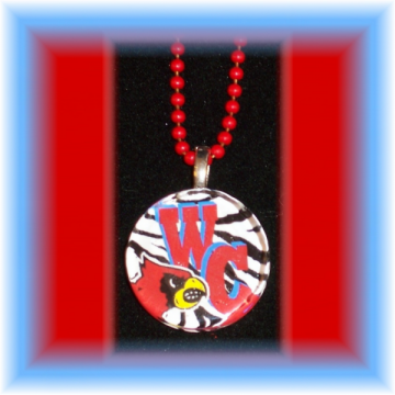 Glass Tile Pendant Webb City Cardinals ZEBRA FREE SHIPPING
