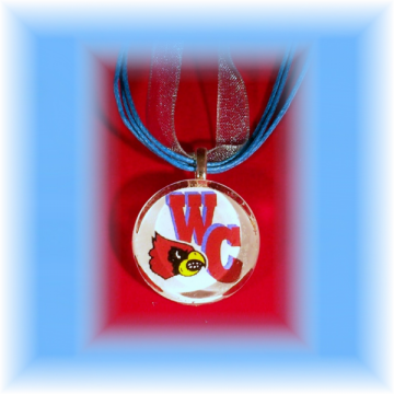 Glass Tile Pendant Webb City Cardinals FREE SHIPPING
