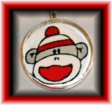 Glass Tile Pendant SOCK MONKEY / Really CUTE! FREE SHIPPING