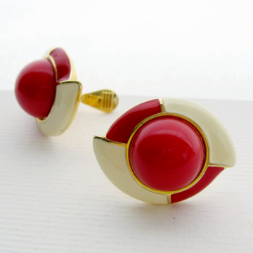 Vintage Monet Signed Enamel Red Cream Clip Earrings