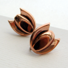 50s Copper Tulip Screw Back Earrings - Renoir