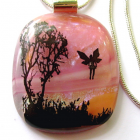 Fairy Sunrise-Fused Dichroic, Sterling Chain, Bail