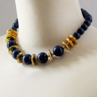 Vintage Monet Dark Navy Gold Chunky Bead Necklace