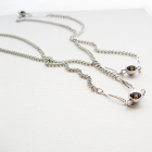 36 Inch Vintage Silver Toned Chain w Decorative Petal and Ball Stations