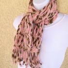 Scarf, linked chain crocheted in shaded pink and brown