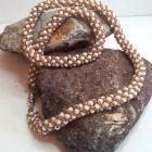 Tan Russian Spiral Rope Hand Beadwoven Necklace 18-1/4""