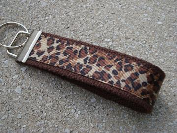 Light Leopard and Brown Wristlet Key Fob