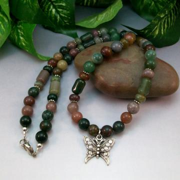 Fancy Jasper Necklace with Butterfly Charm