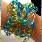 Wide Cuff Bracelet with Turquoise Chartreuse Gold &amp; Silver Swirls - Hand made - Wire Wrapped - One of a Kind Statement piece Mardi Gras Brac