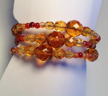 Red Agate and Crystal Wrap Bracelet