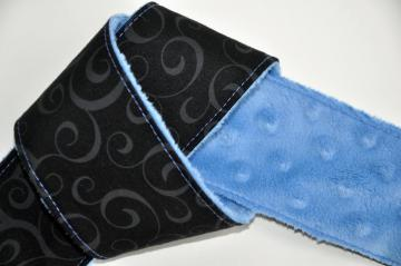 DSLR Camera Strap Cover- Black Swirl Blue Minky