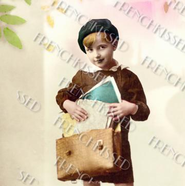 DIGITAL scan 1920s Art Deco French Beret SCHOOL Boy with satchel Graduation Card Idea Photo Download