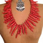 Large Strand Red Natural Bamboo Coral Chili Beads Statement Necklace