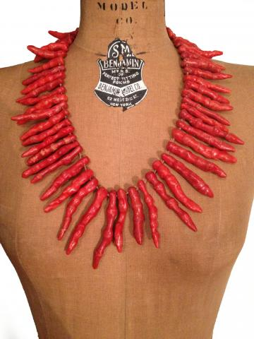 OnSALE: Large Strand Red Natural Bamboo Coral Chili Beads Statement Necklace