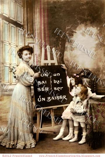 Victorian Teacher Students BLACKBOARD easel FRENCH Kiss CUSTOMIZABLE Invitation Digital Scan