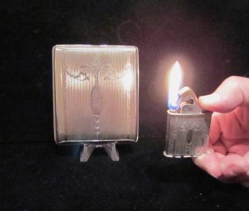 Vintage Evans Cigarette Case And Lighter 1940s Silver Cigarette Case Business Card Case Working Lighter