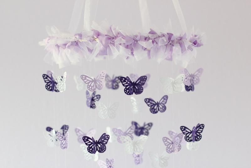 baby girl nursery decor purple lavender butterfly mobile baby shower