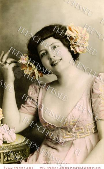 Digital scan DECOLLETAGE Victorian Actress in Pink Jewelry Necklace Display Antique French postcard photo download