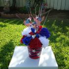 Basket Silk Arrangement Flowers Floral Memorial Day Flag Day 4Th Of July American Holiday Deco