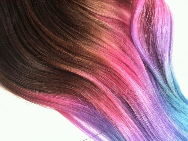 Dark Brown Hair with Purple Ombre