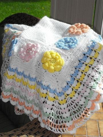 RUFFLES AND FLOWERS MULTI COLOR PASTEL BABY AFGHAN
