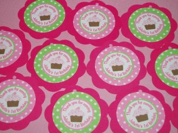 Cupcake Hot Pink and Green Favor Tags Birthday Decorations