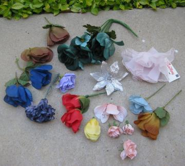 Vintage Lot of Silk Millinery Flowers
