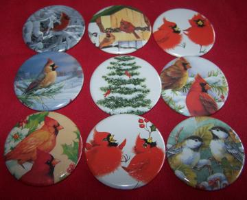Winter Birds Button Collection - 9 pins OOAK
